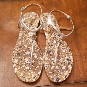 Tory Burch Marion Sandals Silver Metallic Confetti